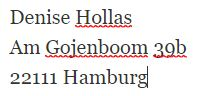 D. Hollas, Am Gojenboom 39b, 22111 Hamburg